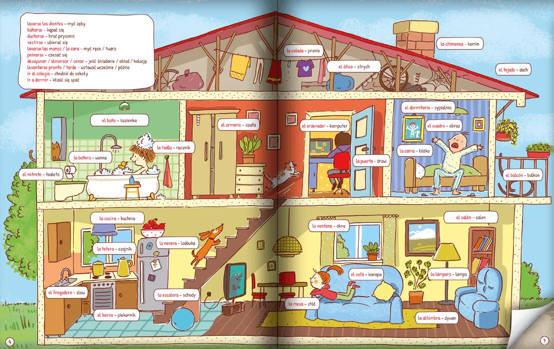Pięknie ilustrowana książka do nauki hiszpańskich słówek dla dzieci!