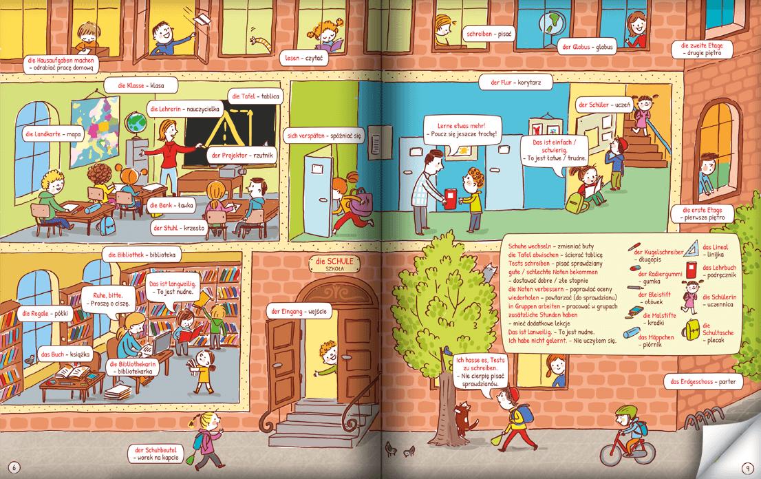Pięknie ilustrowana książka do nauki niemieckich słówek dla dzieci
