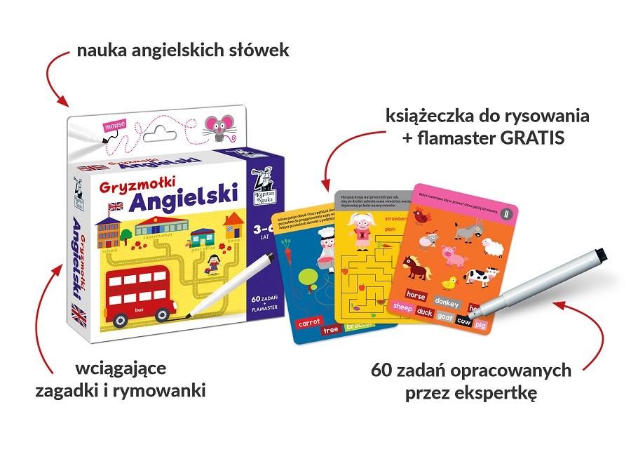 Angielski. Gryzmołki - pakiet zagadek dla dzieci w wieku 3-6 lat