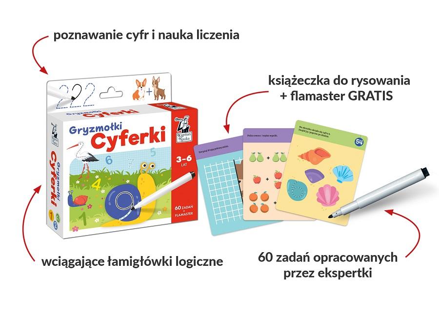 Cyferki. Gryzmołki - zestaw edukacyjny dla dzieci od 3 do 6 roku życia