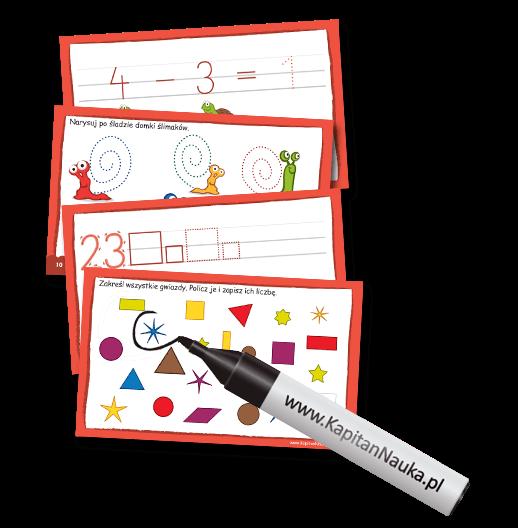 Pakiet Liczby. Piszę i zmazuję zawiera ponad 70 bogato ilustrowanych zabaw. W książeczce znajdują się proste łamigłówki, które uczą rozpoznawania cyfr i liczenia