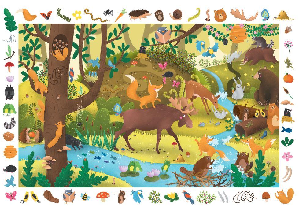 puzzle obserwacyjne zwierzęta leśne - dla dzieci od 4 lat