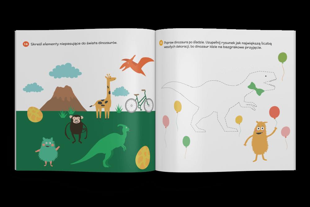 Bazgraki i dinozaury - pakiet zadań dla dzieci w wieku 3-6 lat