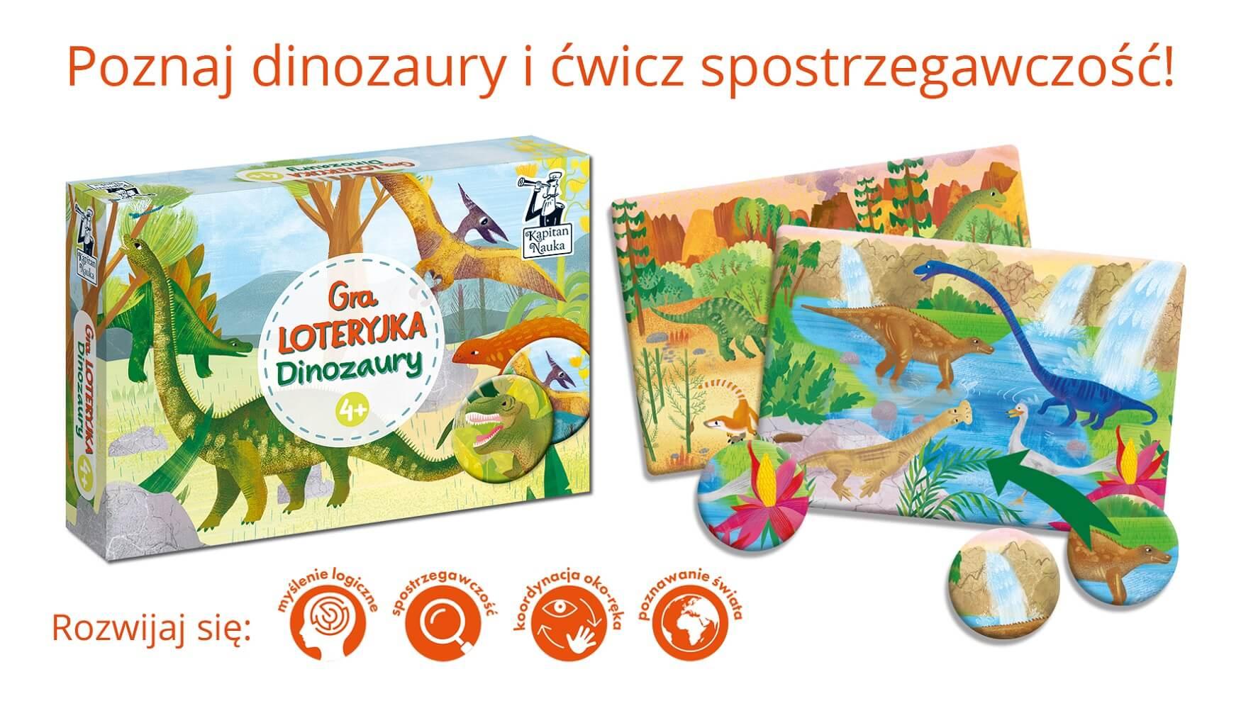 Dinozaury. Gra Loteryjka dla dzieci od 4 roku życia