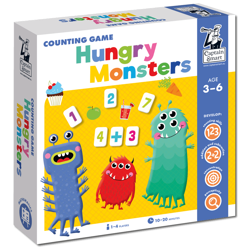 counting game hungry monsters Captain Smart educational board games for kids 3+