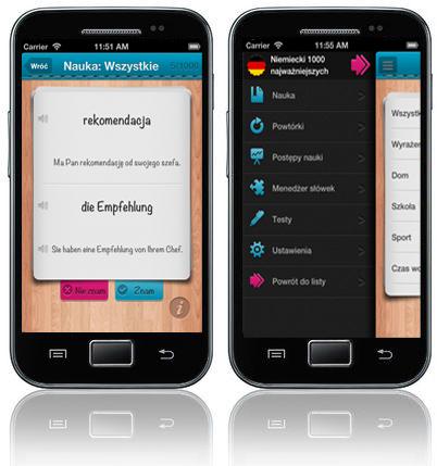 iFiszki Niemiecki 1000 najważniejszych słów - aplikacja mobilna - nauka niemieckiego słówka