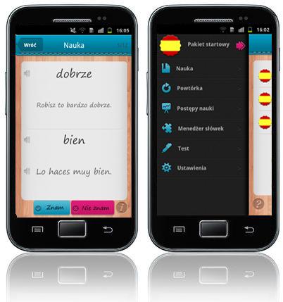 iFiszki+ Hiszpański - aplikacja mobilna - kurs języka hiszpańskiego