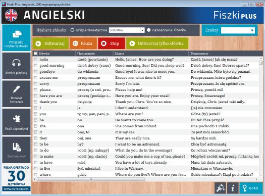 Angielski Fiszki PLUS 1000 najważniejszych słów dla początkujących - panel