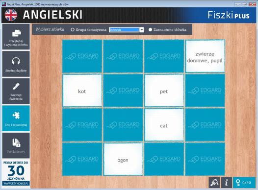 Angielski Fiszki PLUS 1000 najważniejszych słów dla początkujących - ćwiczenie 1