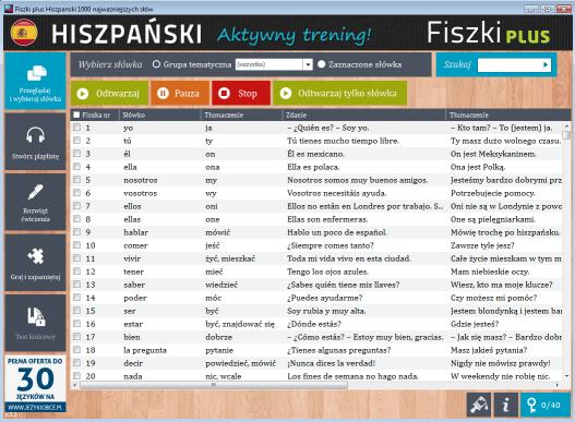 Hiszpański Fiszki PLUS 1000 najważniejszych słów dla początkujących - panel