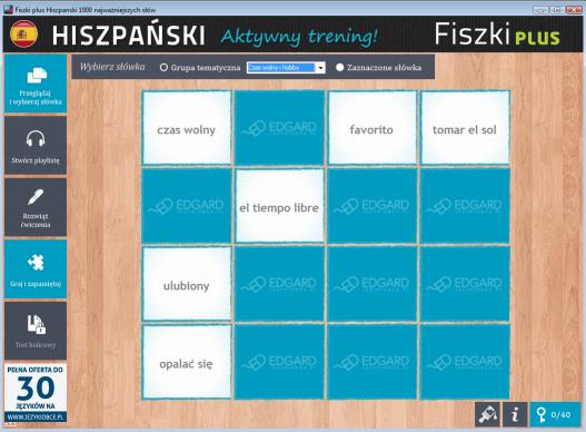 Hiszpański Fiszki PLUS 1000 najważniejszych słów dla początkujących - ćwiczenie 1