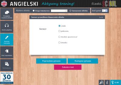 Angielski Fiszki SCHOOL I like strawberries - ćwiczenie 2