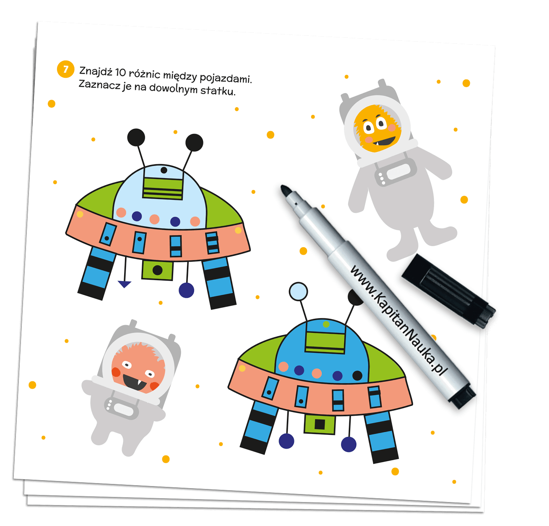 Kapitan Nauka. Bazgraki w kosmosie (3-6 lat) - książka + suchościeralny mazak