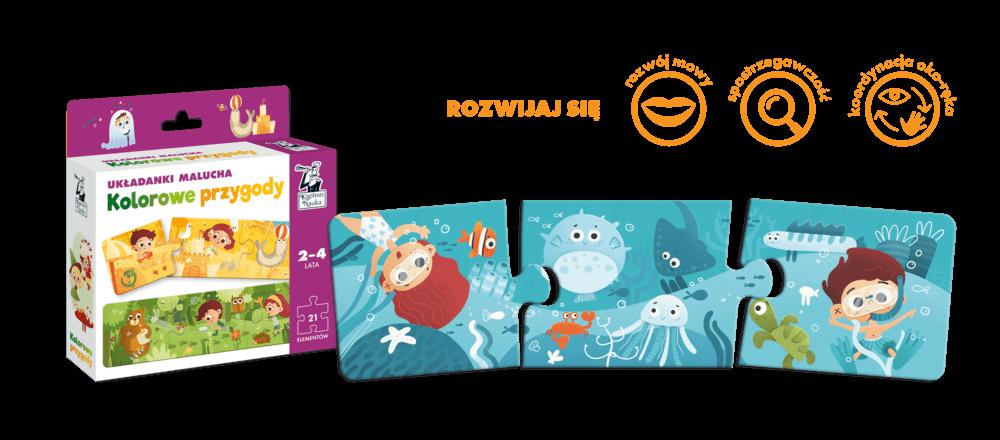 Kolorowe przygody. Układanki malucha dla dzieci w wieku 2-4 lata - pierwsze puzzle dla dziecka