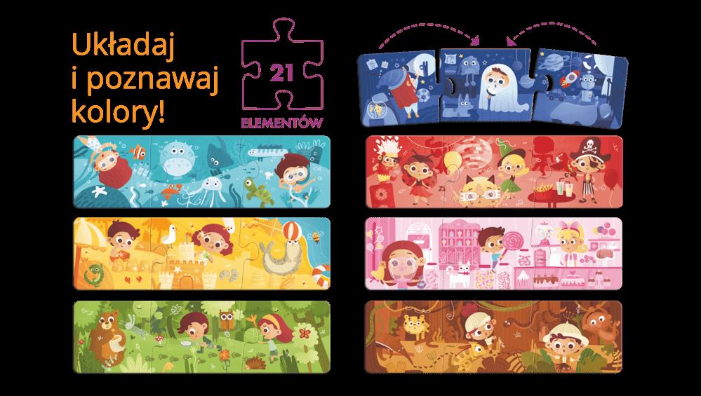 Kolorowe przygody - puzzle trzyelementowe dla dzieci