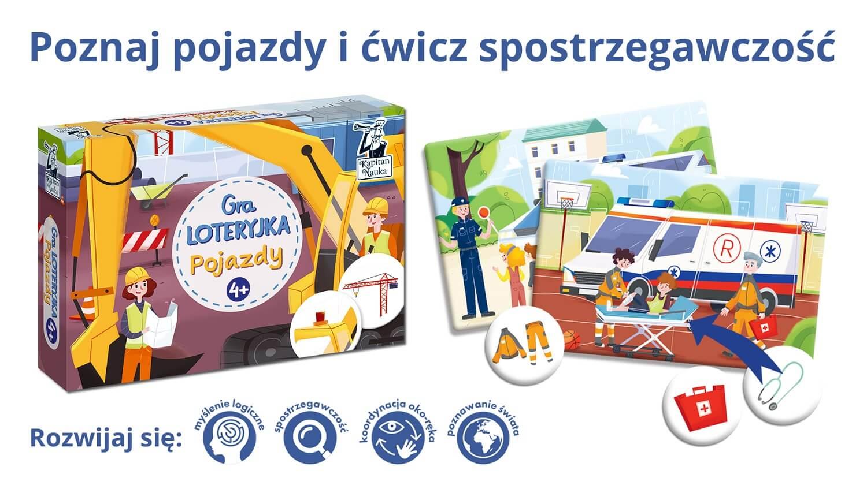 Loteryjka. Pojazdy - gra dla dzieci w wieku 4+