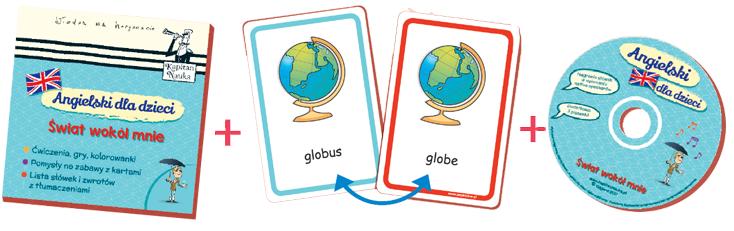 Kapitan Nauka. Angielski dla dzieci. Świat wokół mnie to karty obrazkowe dla uczniów szkoły podstawowej do nauki angielskiego. Zestaw do nauki angielskich słówek i zdań dla dzieci. Słówka związane z otoczeniem domowym i szkolnym na kartach obrazkowych.
