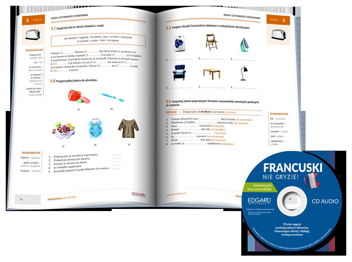 Francuski nie gryzie! Reedycja w kolorze to unikalny kurs do samodzielnej, aktywnej nauki języka francuskiego. Poznaj współczesny, codzienny język i zacznij mówić po francusku!